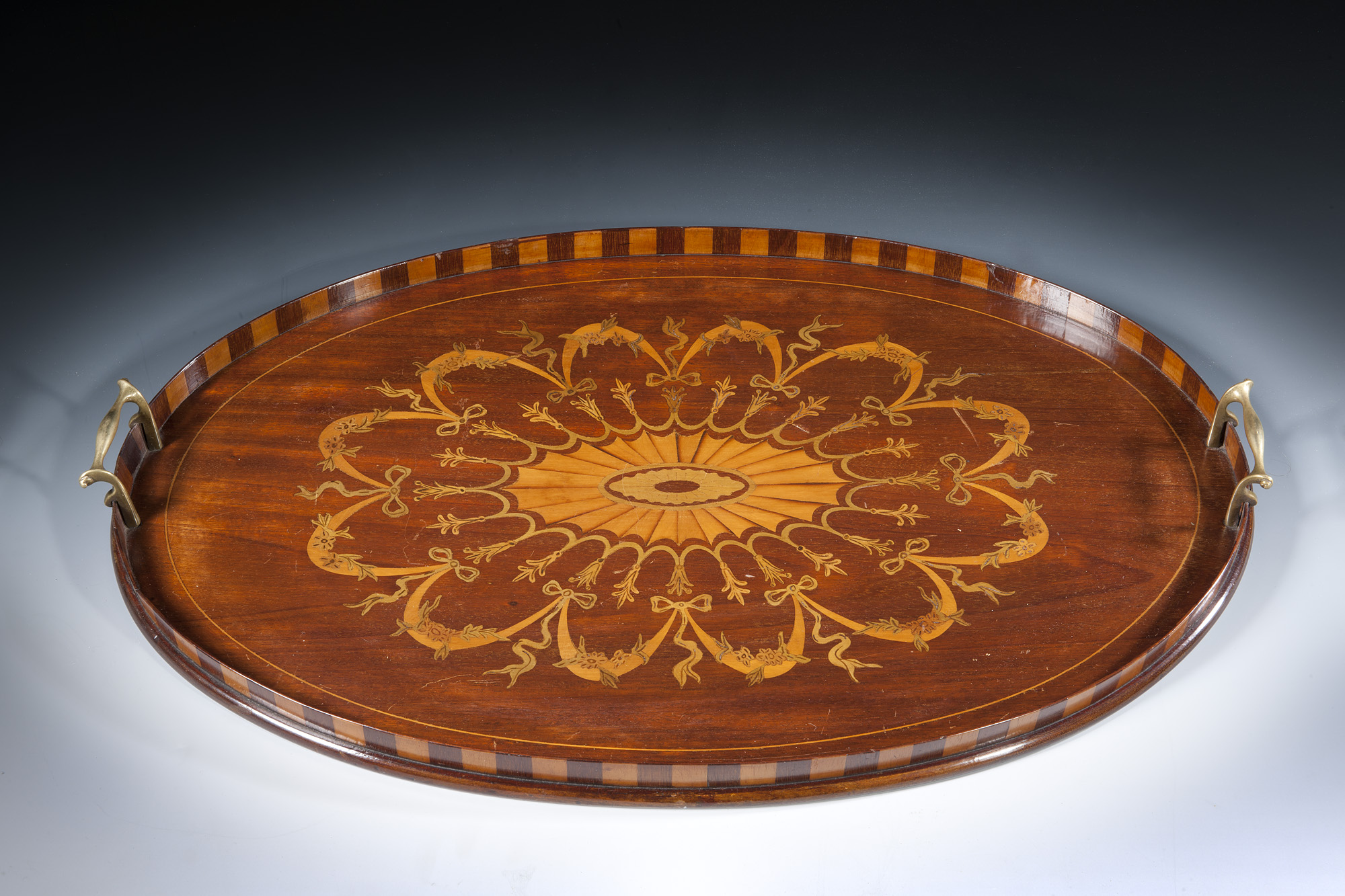 Ottery Antiques Archive Edwardian Marquetry Inlaid Tray