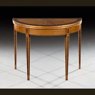 Satinwood Demi-Lune card table